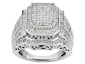 Diamond Rhodium Over Sterling Silver Ring .50ctw