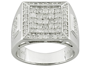 Diamond Rhodium Over Sterling Silver Gents Ring 1.33ctw