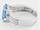 Lab Blue Spinel And White Cubic Zirconia Rhodium Over Sterling Silver Ring 4.80ctw