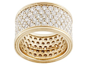 Cubic Zirconia 18k Yellow Gold Over Silver Band 9.30ctw (4.65ctw DEW)