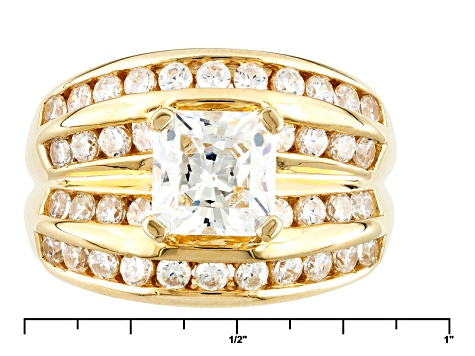 Cubic Zirconia 18k Yellow Gold Over Silver Ring 2.90ctw (2.18ctw DEW)
