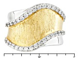 Cubic Zirconia Silver And 18k Yellow Gold Over Silver Ring .68ctw (.34ctw DEW)