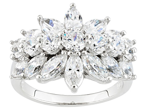 Cubic Zirconia Platinum Over Silver Ring 3.37ctw (2.87ctw DEW)
