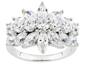 Cubic Zirconia Platinum Over Silver Ring 3.37ctw (2.87ctw DEW)