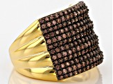 Brown Cubic Zirconia 18k Yellow Gold Over Silver Ring 2.46ctw (1.08ctw DEW)