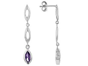 Purple Cubic Zirconia Rhodium Over Sterling Silver Earrings 1.55ctw
