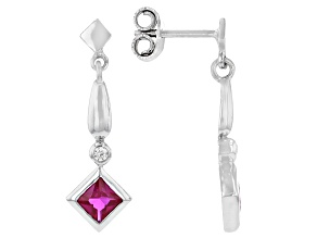 Lab Created Ruby And White Cubic Zirconia Rhodium Over Sterling Silver Earrings 0.90ctw