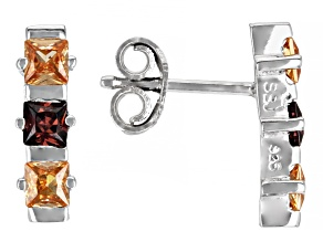 Champagne And Mocha Cubic Zirconia Rhodium Over Sterling Silver Earrings 1.40ctw