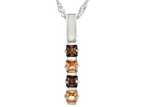 Champagne And Mocha Cubic Zirconia Rhodium Over Sterling Silver Pendant With Chain 0.95ctw