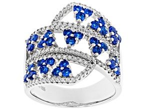 Lab Created Blue Spinel And White Cubic Zirconia Rhodium Over Sterling Silver Ring 2.42ctw