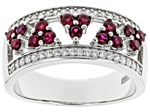 Lab Created Ruby And White Cubic Zirconia Rhodium Over Sterling Silver Ring 0.96ctw