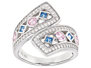 Blue, Pink, And White Cubic Zirconia Rhodium Over Sterling Silver Ring 1.66ctw