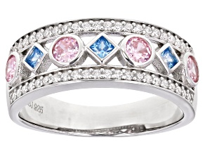 Blue, Pink, And White Cubic Zirconia Rhodium Over Sterling Silver Ring 1.40ctw
