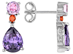 Purple, Pink, And Orange Cubic Zirconia Rhodium Over Sterling Silver Earrings 4.40ctw