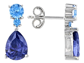 Picture of Blue Cubic Zirconia Rhodium Over Sterling Silver Earrings 4.80ctw