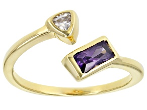 Purple And White Cubic Zirconia 18K Yellow Gold Over Sterling Silver Ring 0.75ctw