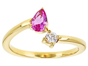 Lab Created Pink Sapphire And White Cubic Zirconia 18K Yellow Gold Over Sterling Silver Ring 0.60ctw