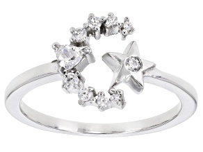 White Cubic Zirconia Rhodium Over Sterling Silver Celestial Ring 0.30ctw