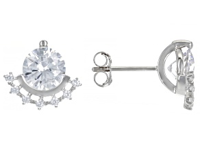 White Cubic Zirconia Rhodium Over Sterling Silver Earrings 4.62ctw