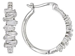 White Cubic Zirconia Rhodium Over Sterling Silver Hoop Earrings 3.45ctw