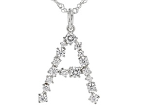 "White Cubic Zirconia Rhodium Over Sterling Silver ""A"" Necklace 1.43ctw"