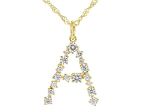 """White Cubic Zirconia 18K Yellow Gold Over Sterling Silver """"A"""" Necklace 1.43ctw"""