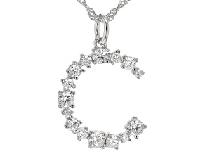 "White Cubic Zirconia Rhodium Over Sterling Silver ""C"" Necklace 1.44ctw"