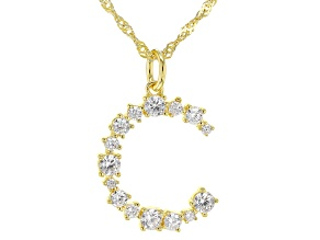"White Cubic Zirconia 18k Yellow Gold Over Sterling Silver ""C"" Necklace 1.44ctw"