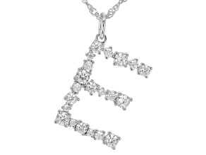 "White Cubic Zirconia Rhodium Over Sterling Silver ""E"" Necklace 1.89ctw"