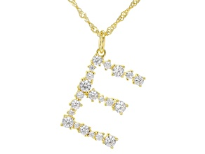 "White Cubic Zirconia 18k Yellow Gold Over Sterling Silver ""E"" Necklace 1.89ctw"