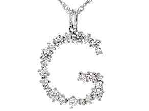 """White Cubic Zirconia Rhodium Over Sterling Silver """"G"""" Necklace 1.84ctw"""