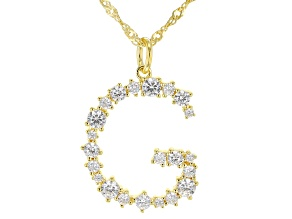 "White Cubic Zirconia 18k Yellow Gold Over Sterling Silver ""G"" Necklace 1.84ctw"