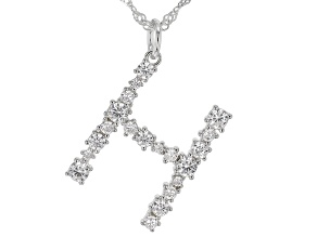 """White Cubic Zirconia Rhodium Over Sterling Silver """"H"""" Necklace 1.75ctw"""