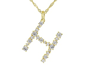 "White Cubic Zirconia 18K Yellow Gold Over Sterling Silver ""H"" Necklace 1.75ctw"