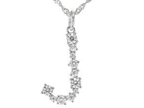 """White Cubic Zirconia Rhodium Over Sterling Silver """"J"""" Necklace 1.00ctw"""