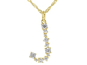 """White Cubic Zirconia 18K Yellow Gold Over Sterling Silver """"J"""" Necklace 1.00ctw"""