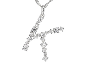"""White Cubic Zirconia Rhodium Over Sterling Silver """"K"""" Necklace 1.67ctw"""