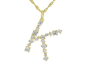 """White Cubic Zirconia 18K Yellow Gold Over Sterling Silver """"K"""" Necklace 1.67ctw"""