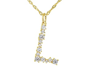 "White Cubic Zirconia 18K Yellow Gold Over Sterling Silver ""L"" Necklace 1.13ctw"