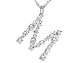 """White Cubic Zirconia Rhodium Over Sterling Silver """"M"""" Necklace 2.45ctw"""