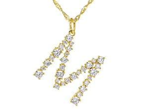 """White Cubic Zirconia 18K Yellow Gold Over Sterling Silver """"M"""" Necklace 2.45ctw"""
