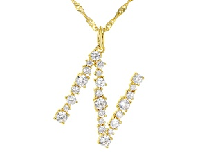 """White Cubic Zirconia 18K Yellow Gold Over Sterling Silver """"N"""" Necklace 2.03ctw"""