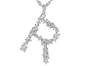 "White Cubic Zirconia Rhodium Over Sterling Silver ""R"" Necklace 1.95ctw"