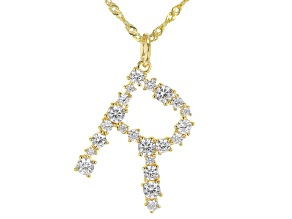 """White Cubic Zirconia 18K Yellow Gold Over Sterling Silver """"R"""" Necklace 1.95ctw"""