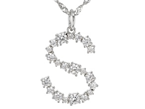 "White Cubic Zirconia Rhodium Over Sterling Silver ""S"" Necklace 1.62ctw"