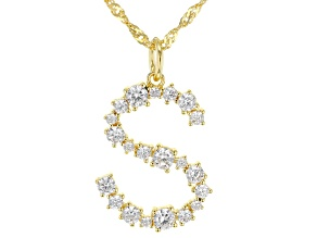 """White Cubic Zirconia 18K Yellow Gold Over Sterling Silver """"S"""" Necklace 1.62ctw"""