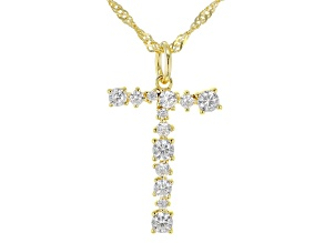 "White Cubic Zirconia 18k Yellow Gold Over Sterling Silver ""T"" Necklace 1.16ctw"