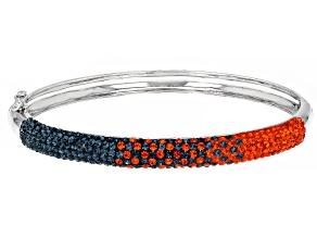 Orange And Blue Crystal Rhodium Over Brass Bracelet