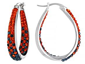 Orange And Blue Crystal Rhodium Over Brass Hoop Earrings