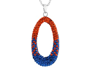 Blue And Orange Crystal Rhodium Over Brass Pendant With Chain